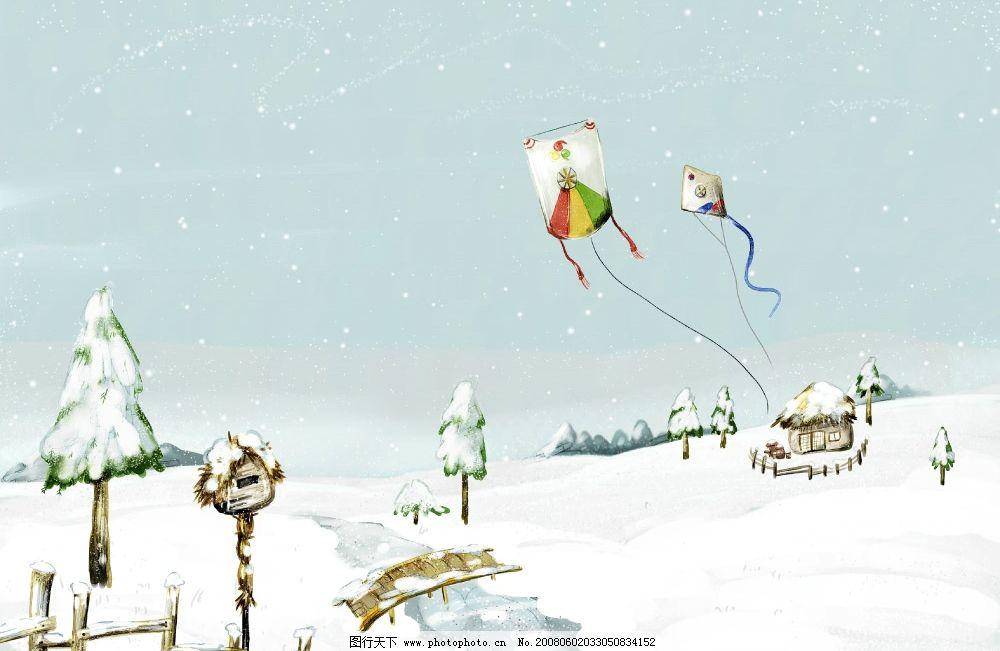 夢幻風景 風箏 房子 雪花 小橋 流水 雪景 積雪 分層 夢幻色彩