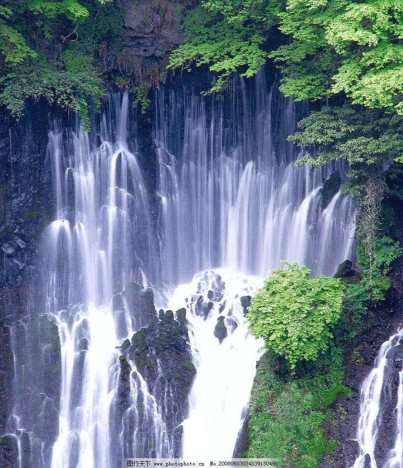 瀑布 秀丽 风景 激流 流水 树林 树木 树 山水 高山流水 湖泊 河流 自然景观 自然风景 自然摄影 摄影图库 350 JPG