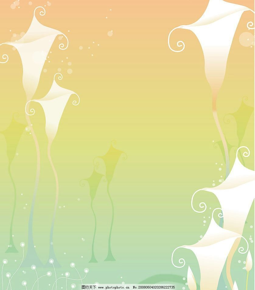 百合花 玻璃 漂亮 风景 卡通 插画 温馨系列图片