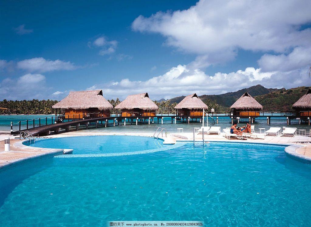 海边游泳池 旅游 茅草屋 海岛风情 悠闲生活 旅游摄影 旅游风光