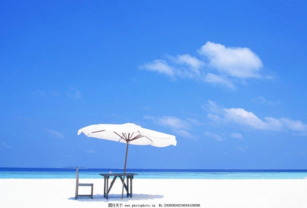 海滩 海滩 云朵 太阳伞 自然景观 自然风景 风景 摄影图库 72 jpg