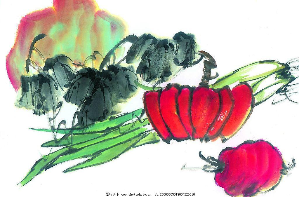 中国国画 食品 食物 蔬菜 水墨画 国画 中国画 绘画 艺术 文化艺术