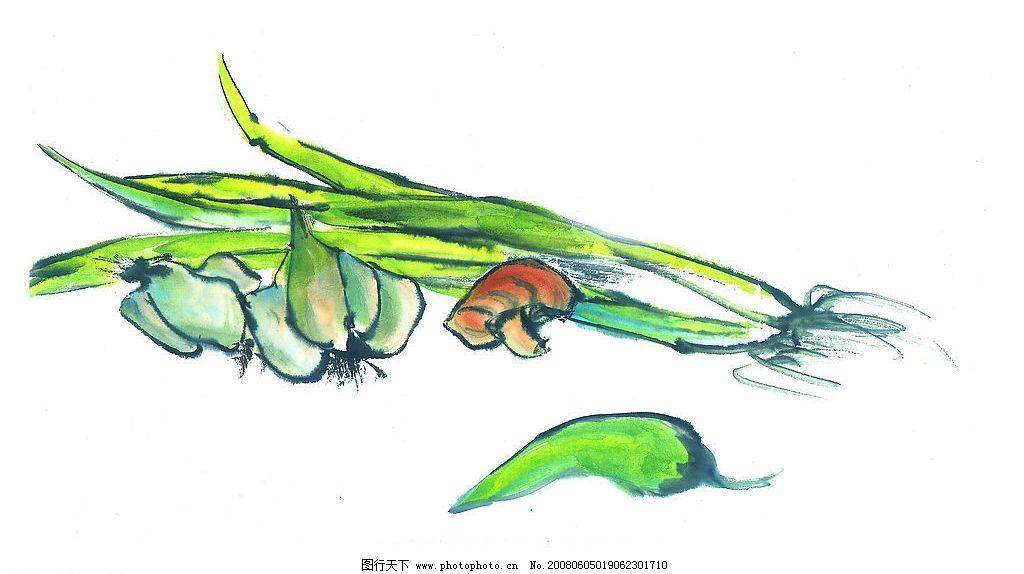 中国国画 食品 食物 蔬菜 水墨画 中国画 绘画 艺术 文化艺术
