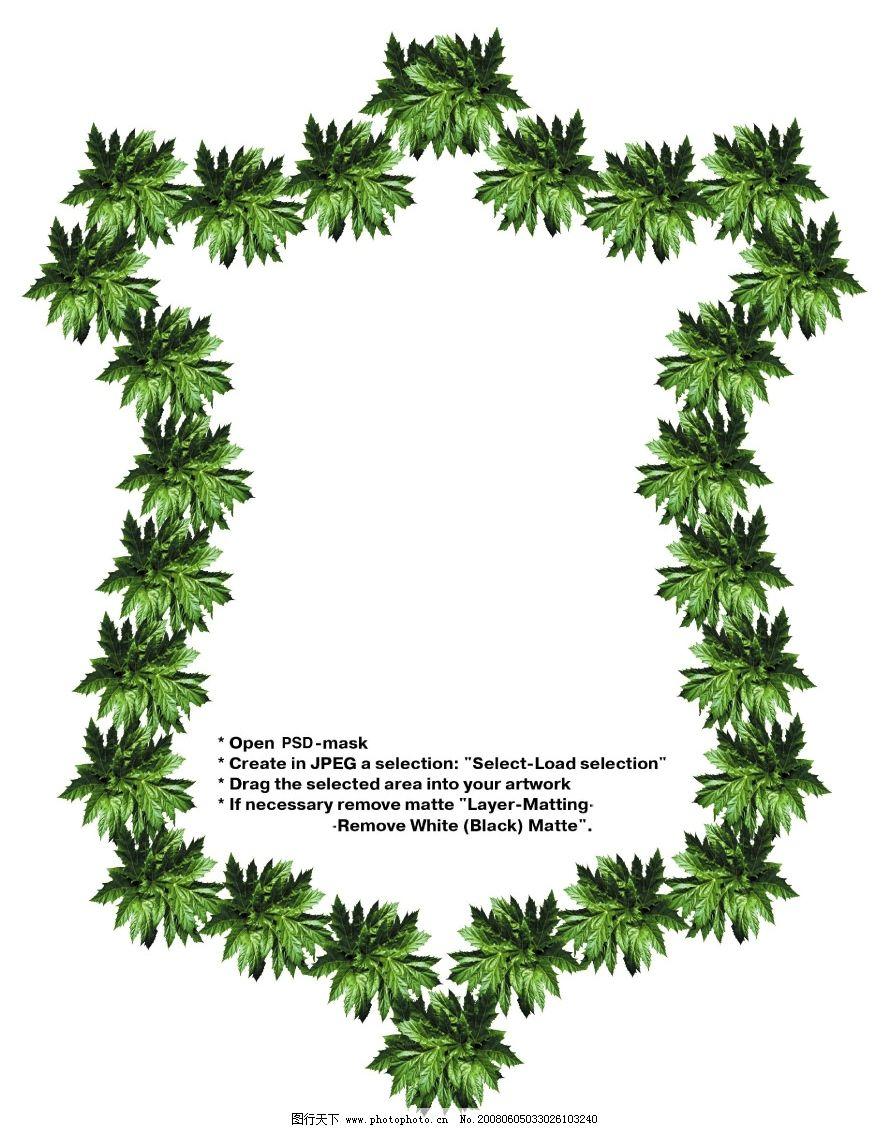 边框 框架 相框 绿叶 水果 绿叶边框  logo边框 形状 psd分层素材 psd