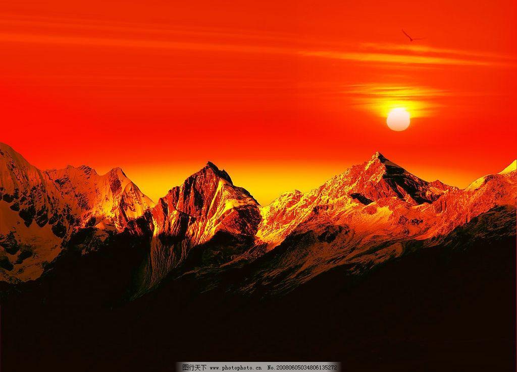日出巅峰 太阳 山峰 日出 红色 自然景观 自然风景 摄影图库 300 jpg