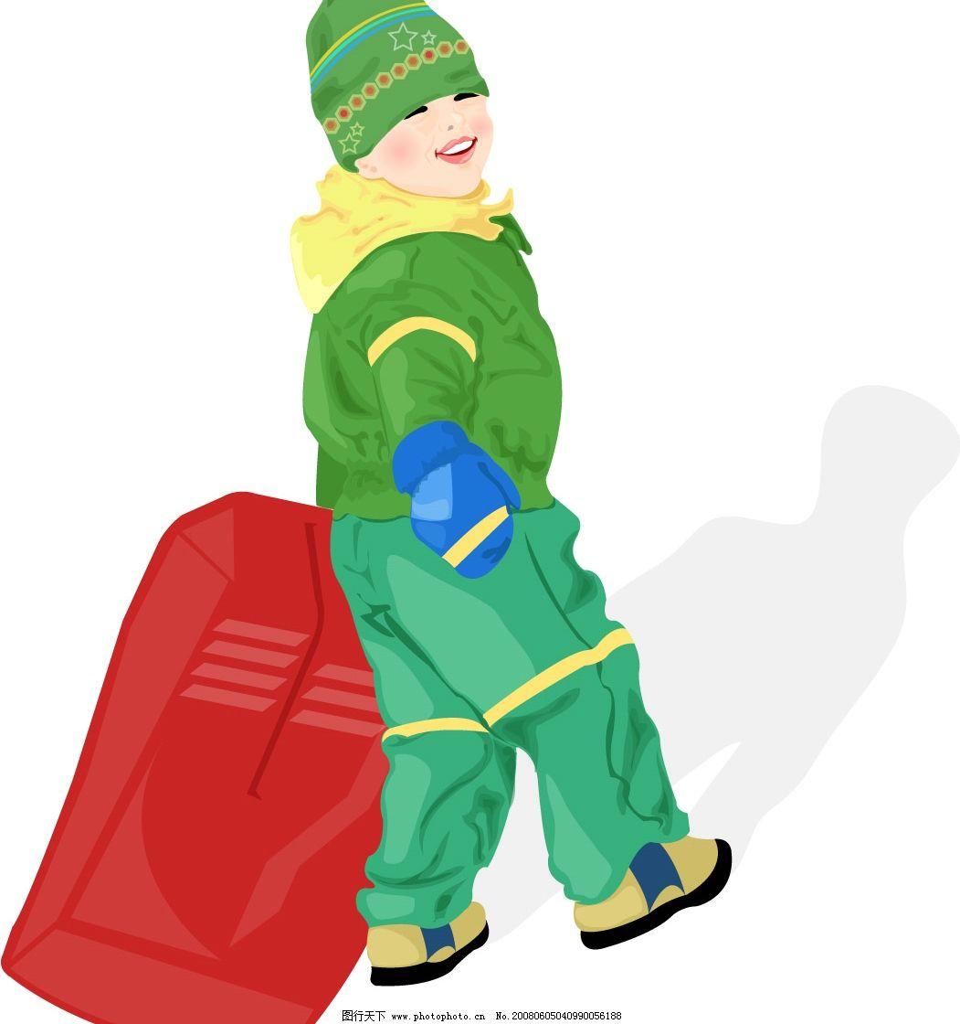 冬天的男孩 人物 旅行包 影子 矢量人物 儿童幼儿 快乐儿童 矢量图库
