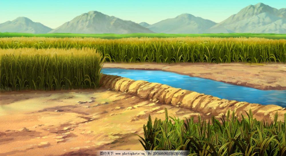 卡通场景--田野 蓝天 山
