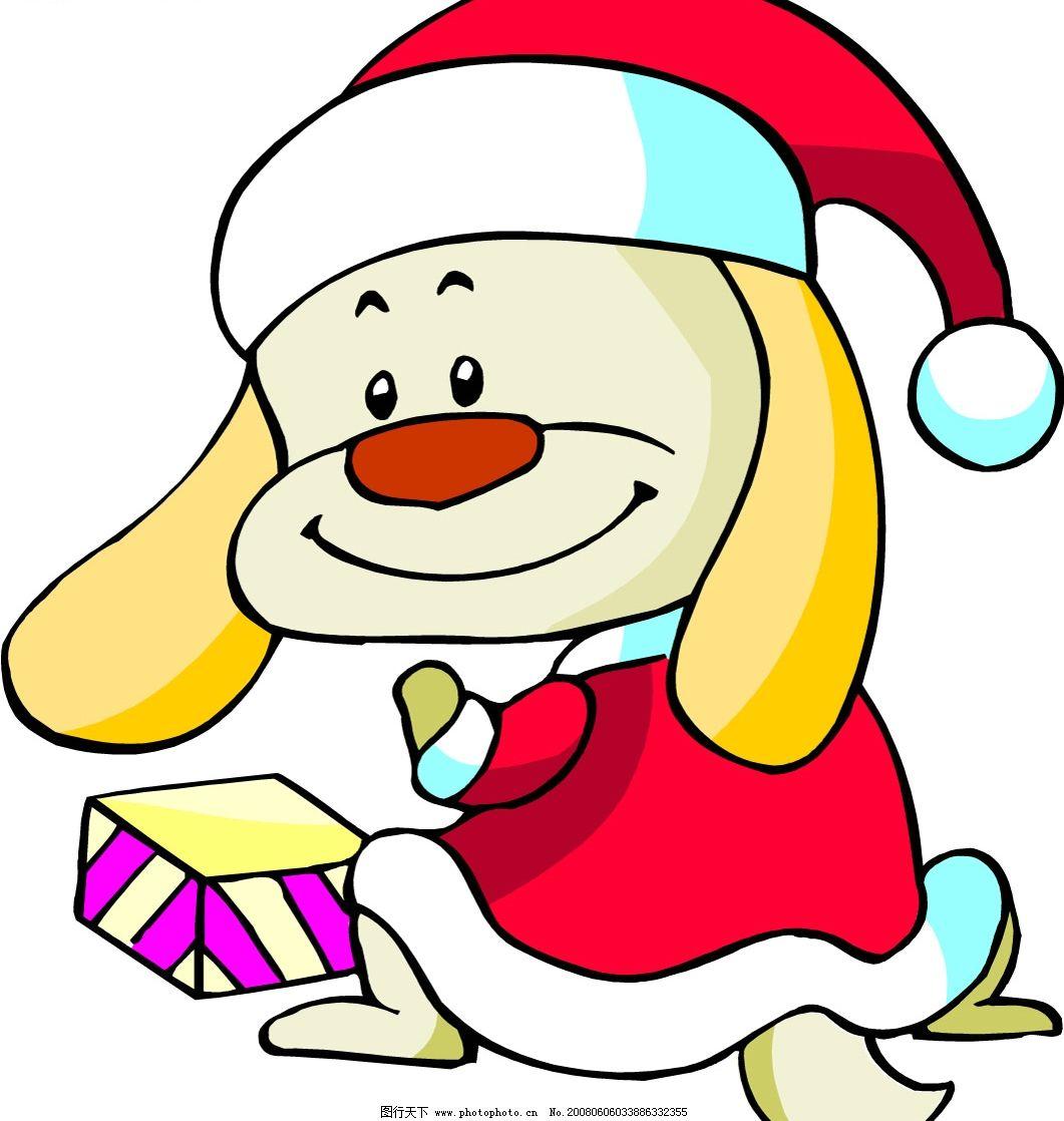 可爱小狗版圣诞老人图片