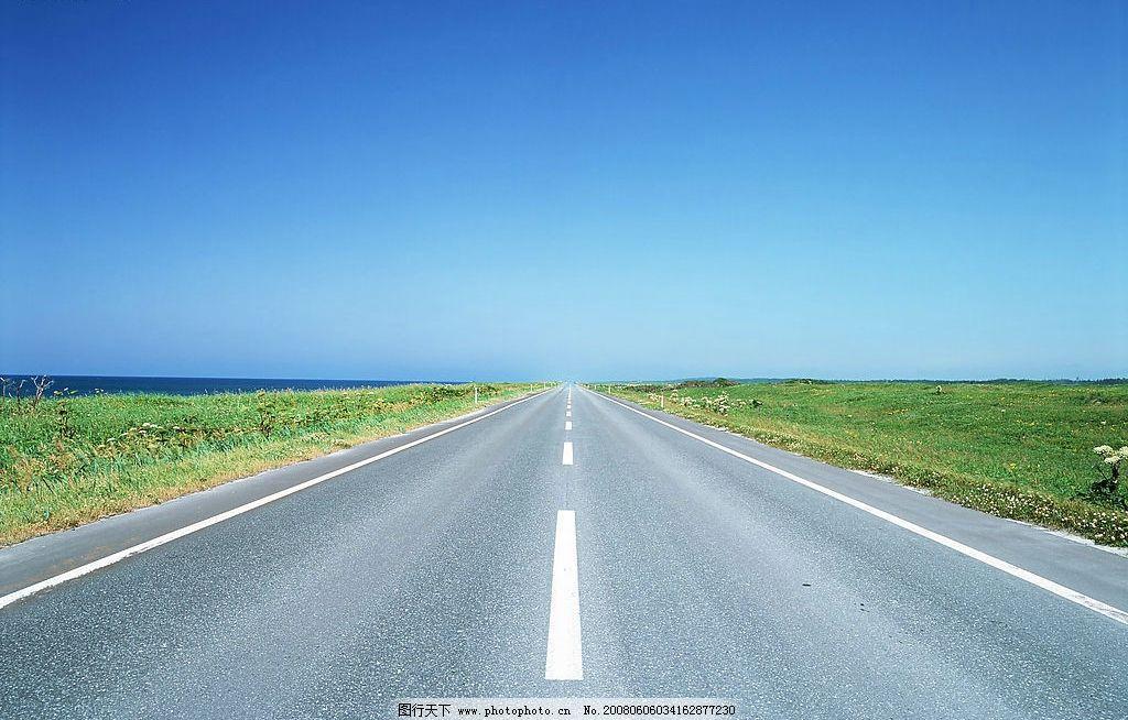 公路 蓝天 绿草 旅游摄影 自然风景 美丽风光素材 摄影图库 350 jpg