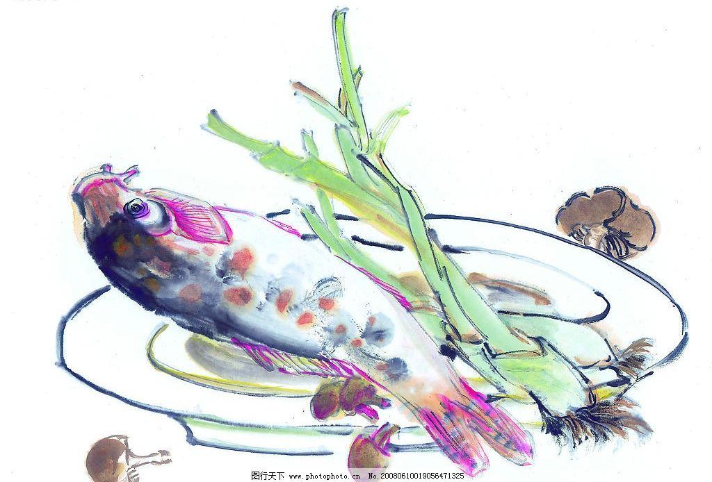 中国国画 食品 食物 蔬菜 鱼 动物 水墨画 国画 中国画 绘画 艺术