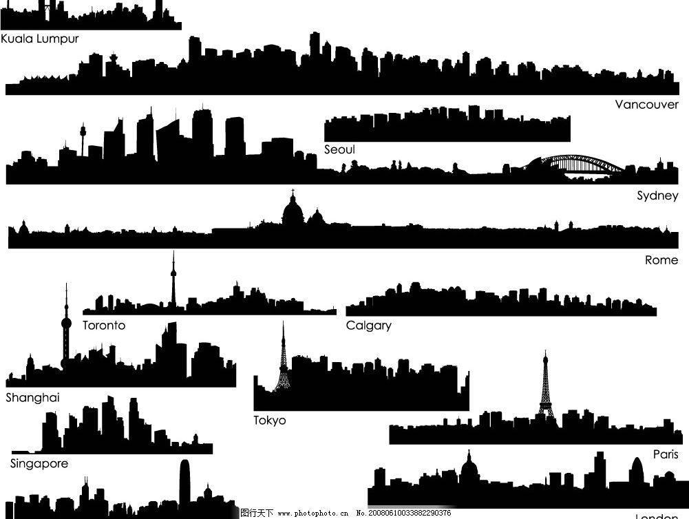 高楼大厦剪影 上海 东京 巴黎 莫斯科 希腊 纽约 香港 其他矢量 矢量