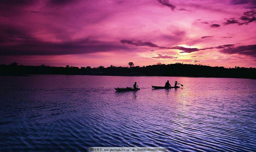 湖上夕阳 黄昏 湖上黄昏风光 大自然风景 摄影图库