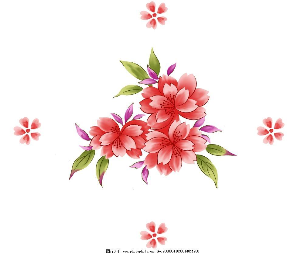 手绘粉红水墨花卉psd分层素材图片