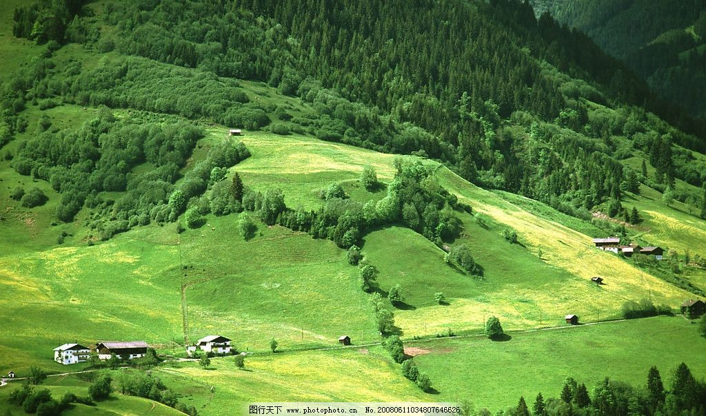 翠绿色山坡景观图片_自然风景_自然景观_图行天下图库