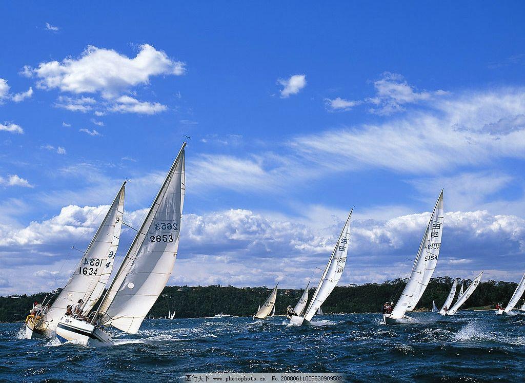 帆船赛水上运动 帆船赛 水上运动 大海 扬帆远行 乘风破浪 蓝天白