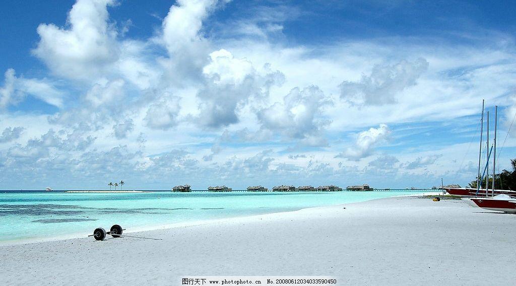精美背景 天空 白云 大海 海滩 旅游摄影 国外旅游 摄影图库