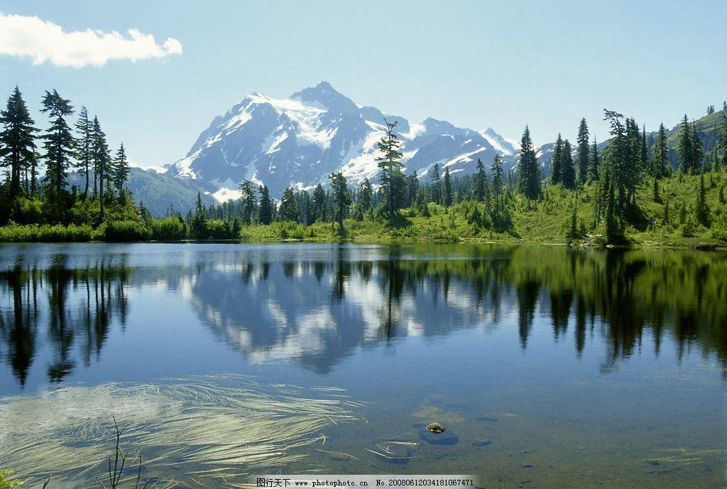 山水 雪山 蓝天 树木 旅游摄影 自然风景 摄影图库 300 jpg