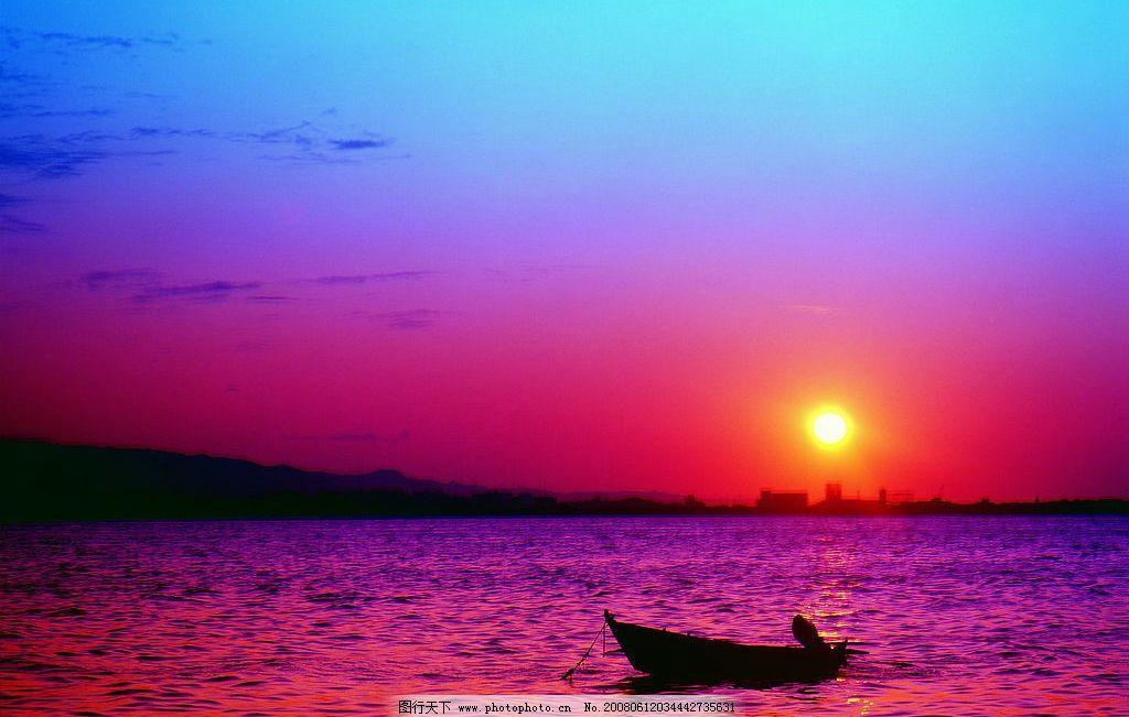 夕阳 落日 大海 旅游 海边 度假 背景 小船 旅游摄影 自然风景