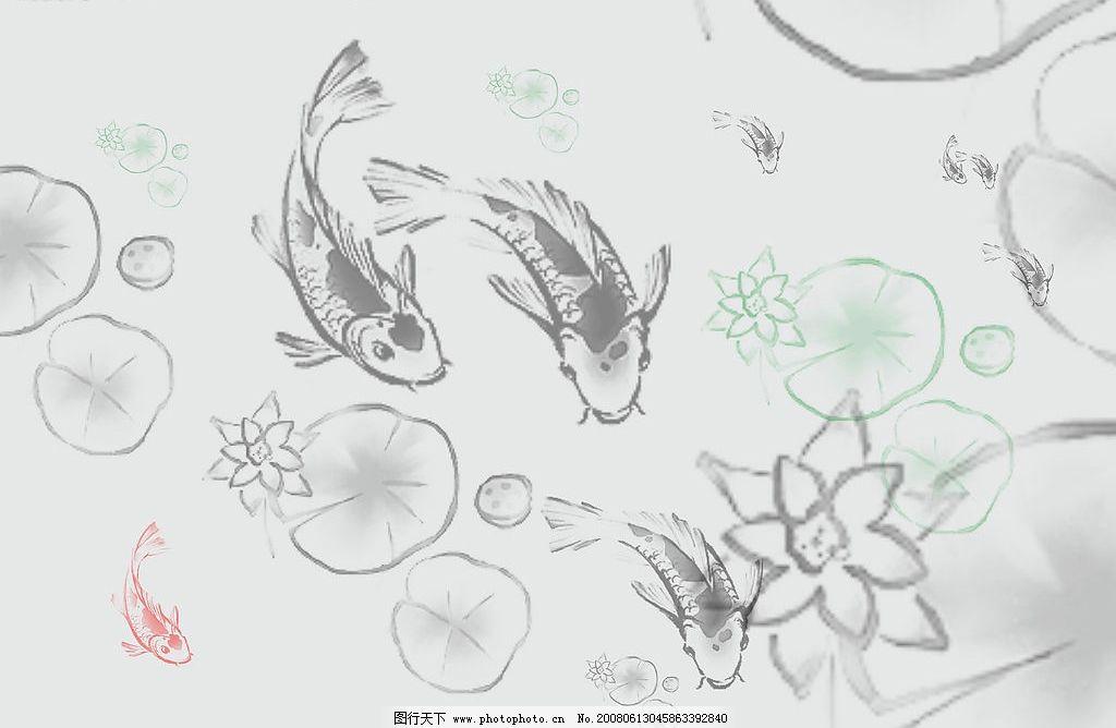 手绘鱼,莲花笔刷