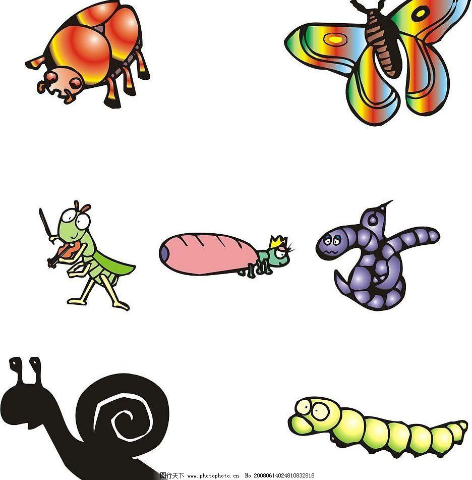 昆虫 可爱 彩色 蜗牛 黑白 毛毛虫 蝴蝶 节日素材 春节 矢量(cdr ai e