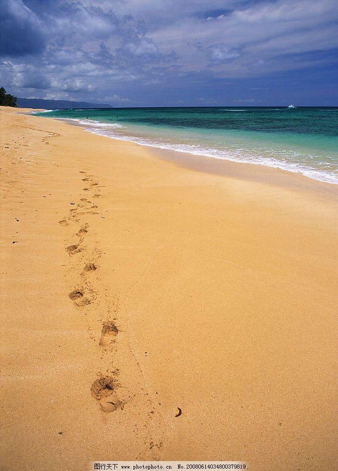 海滩 沙滩 脚印 蓝天 回忆 浪漫 度假 海边 背景 摄影图库