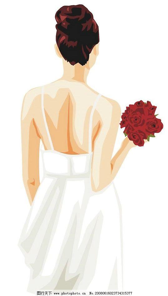 人背影 拿花的女人背影 矢量人物 妇女女性 矢量图库