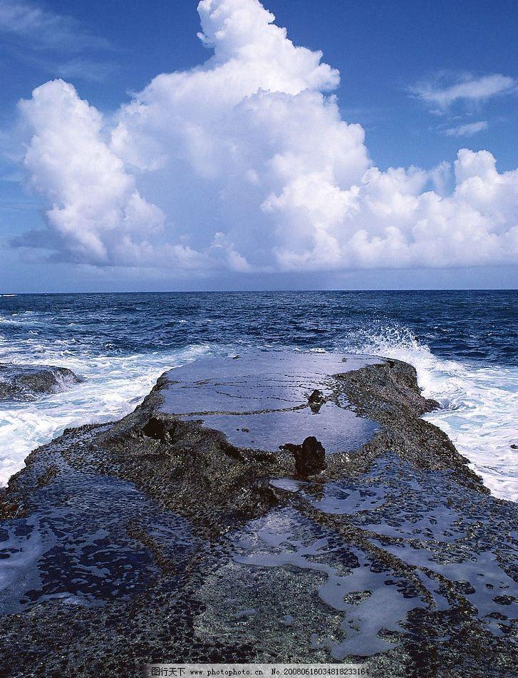 蓝天碧海 蓝天 海 礁石 海浪 自然景观 自然风景 摄影图库 350 jpg