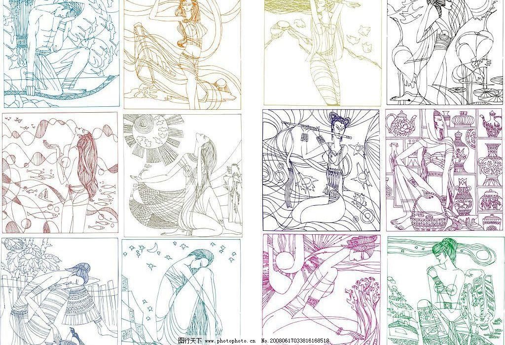 矢量线条壁画 矢量线条壁画 线条装饰画 艺术 绘画 cdr格式 其他矢量