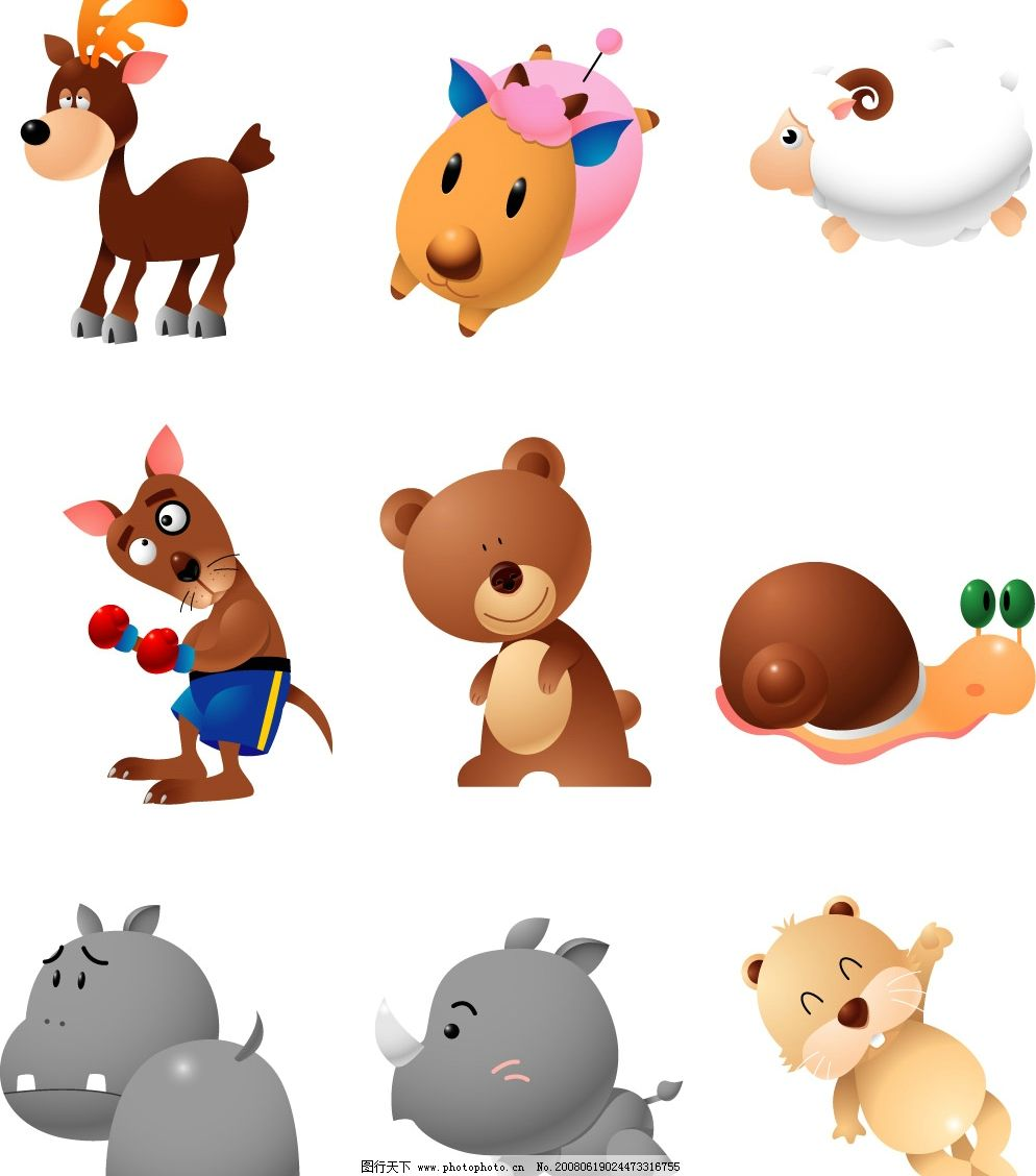 猪可爱卡通动物萌图