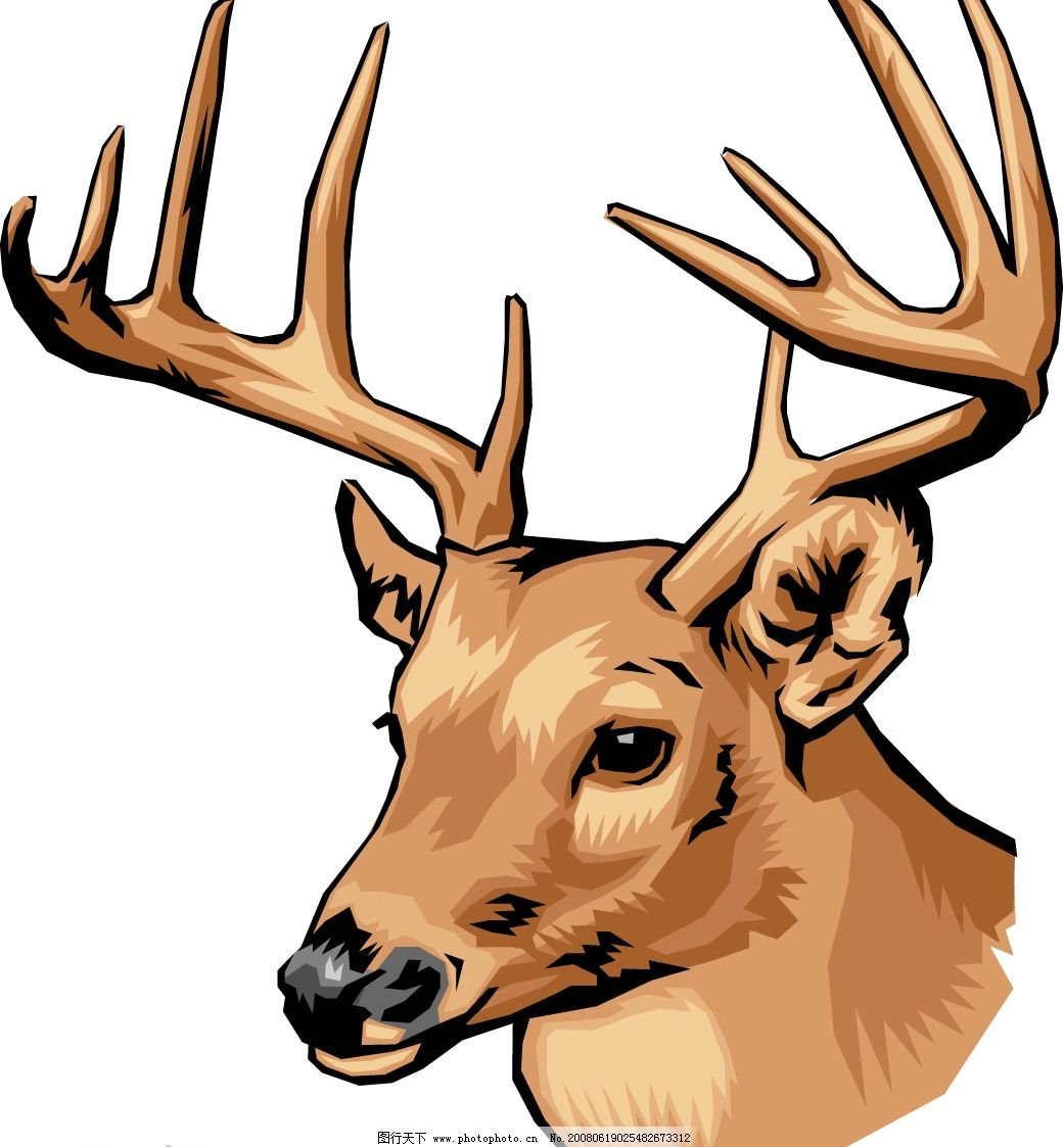 鹿头 生物世界 其他生物 矢量动物 矢量图库   wmf