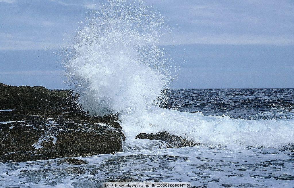 海浪击石 大海 浪花 石头 海水 自然 四季 环境 自然景观 自然风景 高