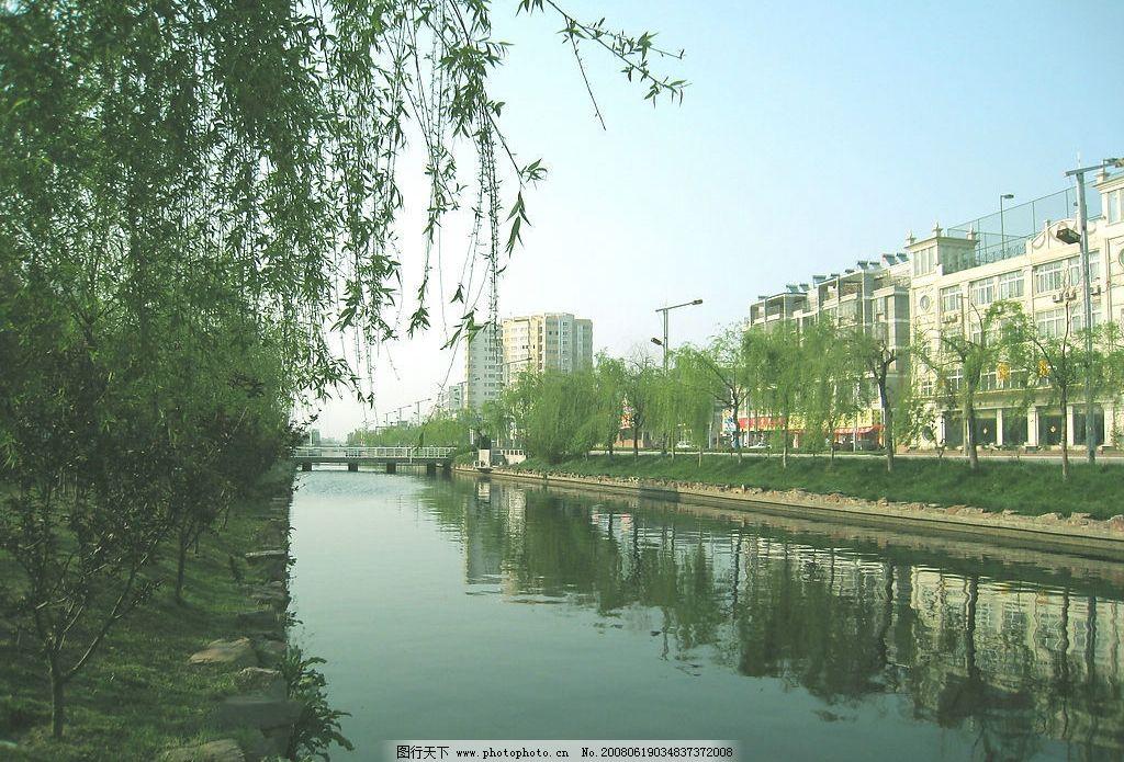 江南水乡 河流 柳树 房屋 自然景观 自然风景 摄影图库 180 jpg