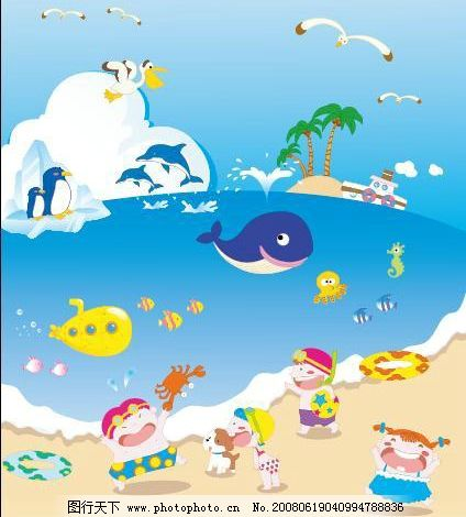 欢乐世界 小孩 海鸥 鱼 新品 极品 大海 矢量人物 儿童幼儿 矢量图库