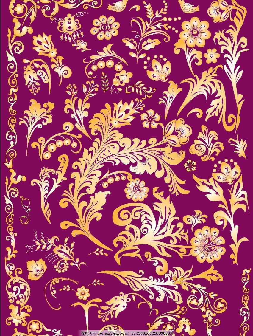 金色花纹 底纹边框 花纹花边 矢量图库