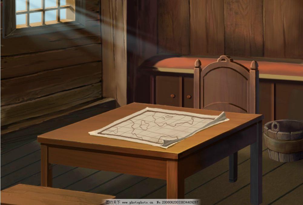 卡通场景 工作室 阳光