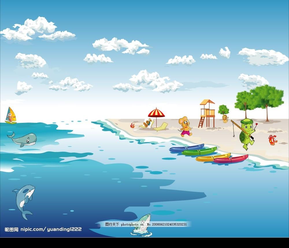 美丽海滩 蓝天 白云 大海 沙滩 动物 自然风景 矢量图库
