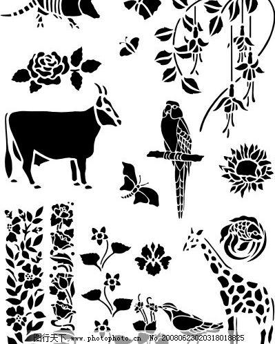 日本精美矢量黑白动植物底图 底纹边框 花纹花边 中,日韩精美矢量黑