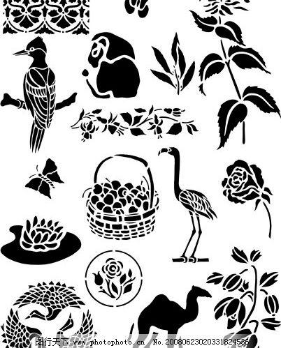 日本精美矢量黑白动植物底图 底纹边框 花纹花边 中,日韩精美矢量黑白
