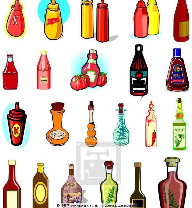番茄酱 瓶 罐 调味 酱 酱汁 生活百科 餐饮美食 饮食商业素材 矢量