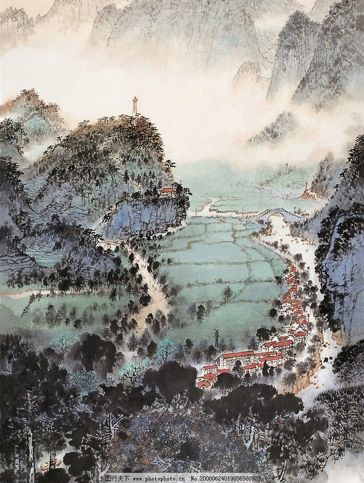 国画山水 山 房子 梯田 文化艺术 绘画书法 油画 设计图库 72 jpg