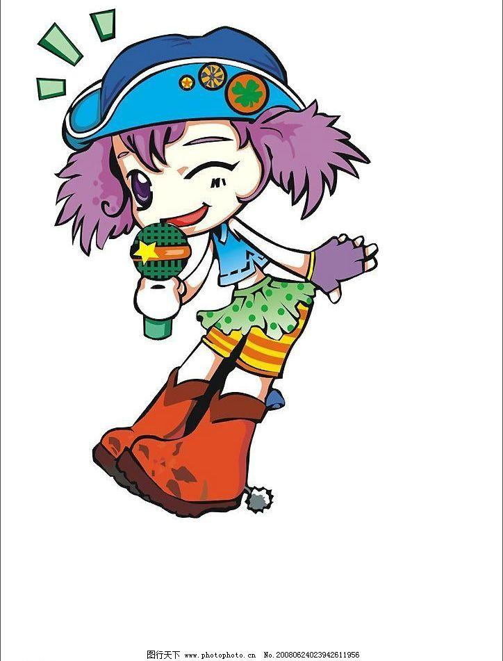 拿麦的女孩 麦克风 卡通 矢量人物 其他人物 矢量图 矢量图库