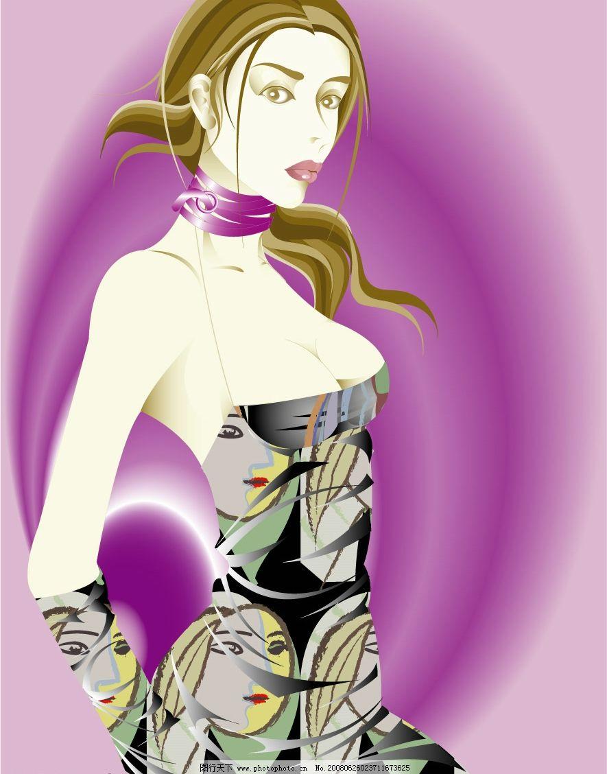 时装女模特 时装 女子 模特 紫色 黄头发 时尚装扮 漂亮女子 矢量人物