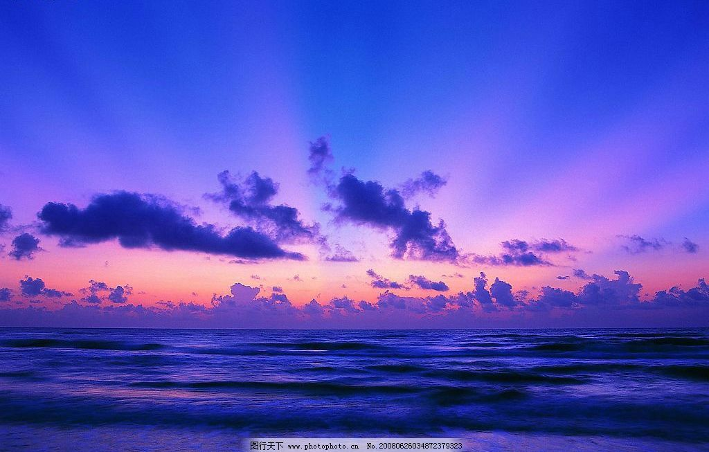 自然景观 晚霞 夕阳 蓝天 云彩 海 海水 海面 光线 自然风景 摄影图库