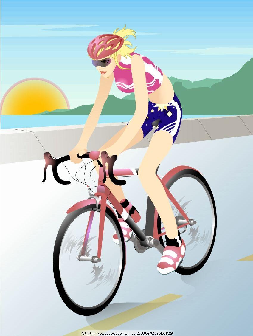 运动瘦身 运动 矢量美女 骑自行车 单车 减肥瘦身 文化艺术 体育运动