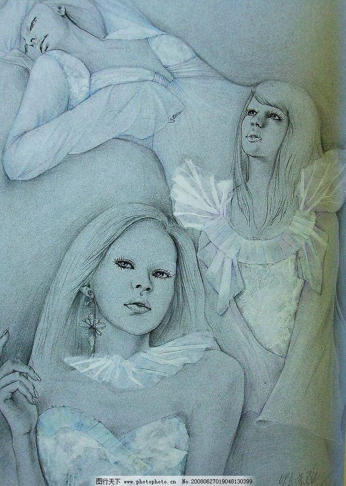 手绘 服装画 白色 水粉