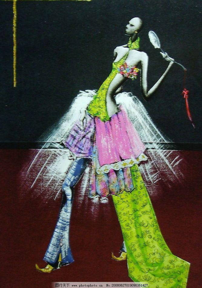 手绘服装画 手绘 服装画 水粉 干擦画法 创意      未来派 新奇 硬纱