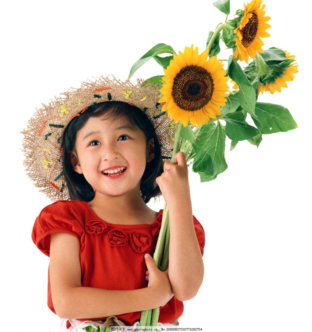 向日葵 女孩 儿童 草帽 微笑 红上衣 psd分层 亚洲人 黑头发 黄皮肤图片