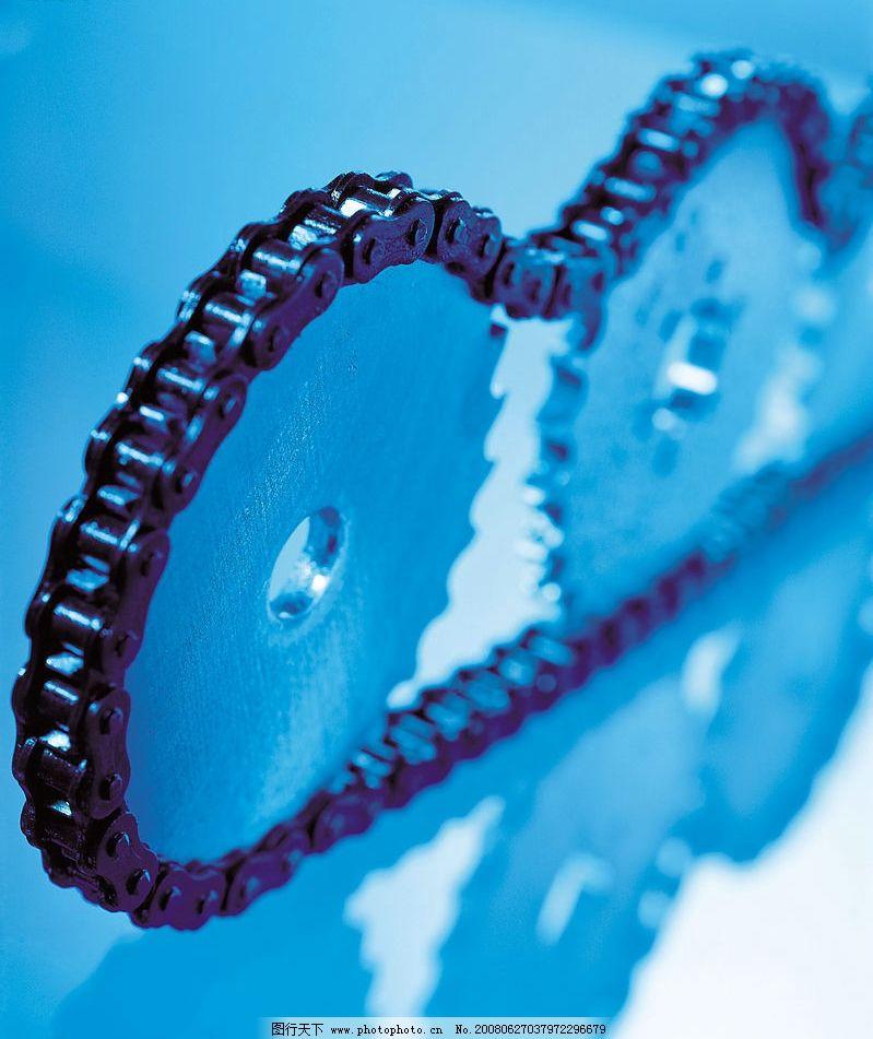 齿轮 机器零件 蓝色 链条 多个 现代科技 工业生产 摄影图库 350 jpg