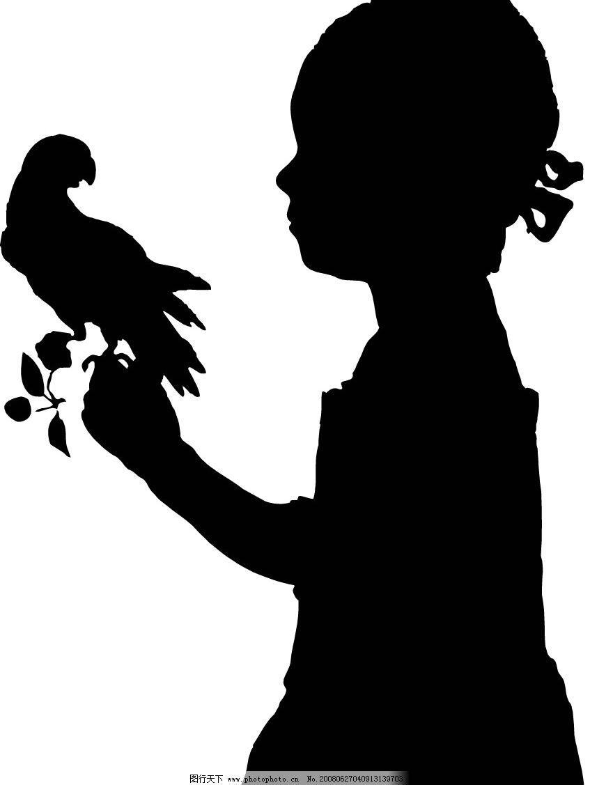 女孩影子 女孩 鸽子 矢量人物 儿童幼儿 人影图库 矢量图库   wmf