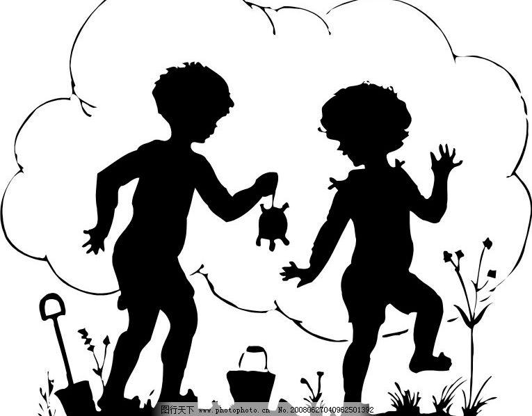 孩子 小乌龟 影子 矢量人物 儿童幼儿 人影图库 矢量图库   wmf